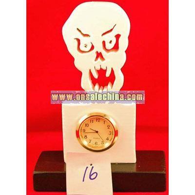 New handcrafted skull halloween clock