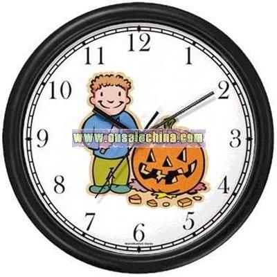 Halloween Gift Clock - Boy Carving Pumpkin