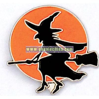 Halloween witch, lapel pin