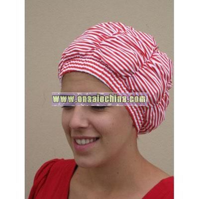 Luxury Shower Cap - Red with White Stripes