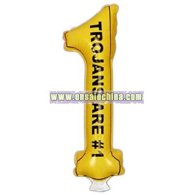 Pair of number one shaped inflatable thunder sticks for events.