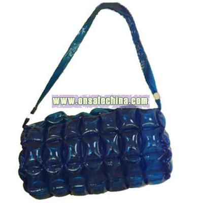 Inflatable purse tote bag with zipper and fashionable buckles