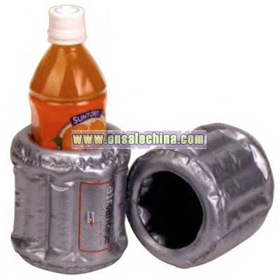 Inflatable can and bottle holder with sections around container
