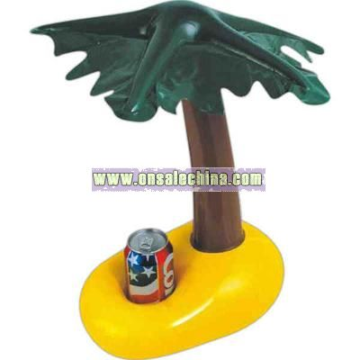 Inflatable brown palm tree shape can holder with green leaves