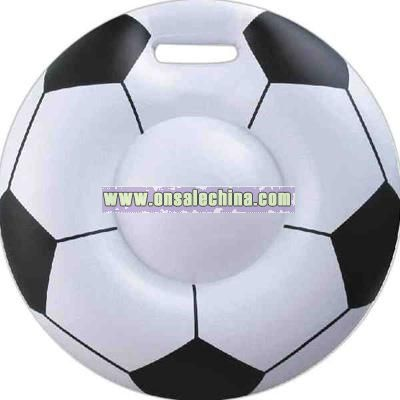 Inflatable white soccer ball seat cushion
