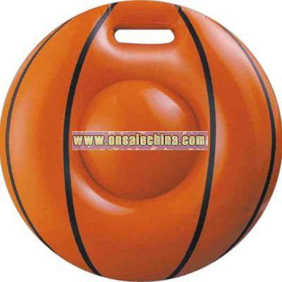 Inflatable orange basketball seat cushion