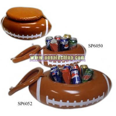 6 Cans   Inflatable Football Shaped Can Cooler With White Markings And Lid