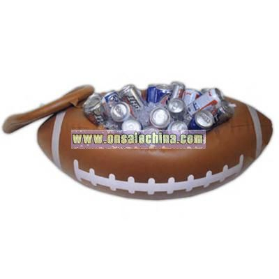 Beautiful Inflatable 24 Can Football Shaped Cooler With White Markings And Lid