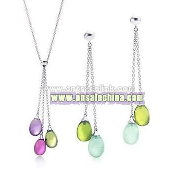 Sterling Silver Colourful Charm Pendant And Earrig Set