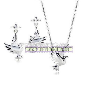 Sterling Silver Dove Design Pendant & Earring Set