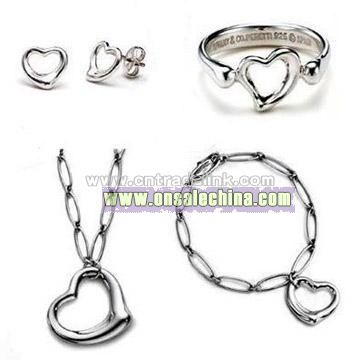 925 Sterling Silver Heart Design Four Piece Jewelry Set