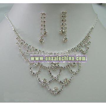 Bridal Rhinestone Necklace Jewelry Set