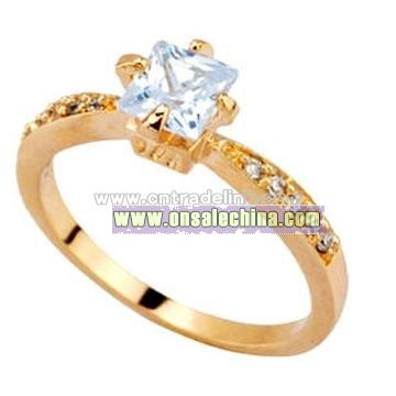 Whoelsale Jewelry White CZ Gold Plated Brass Ring
