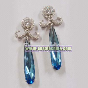 Earrings with Aquanmarine CZ