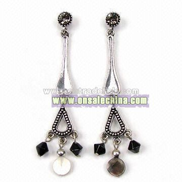 Earrings with Plastic Beads