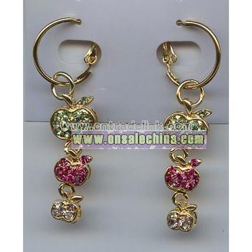 Fashion Jewelry---Three Apple Earrings