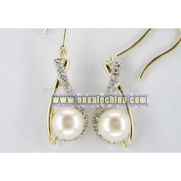 10k Gold Pearl & Diamond Earrings
