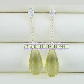 Fine Gold Jewelry-10k Gold Lemon Quartz Earrings