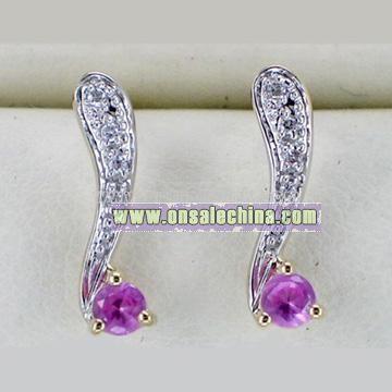 10K Gold Synthetic Sapphire Earrings