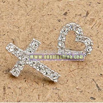 Cross&Heart Alloy Stud Earrings