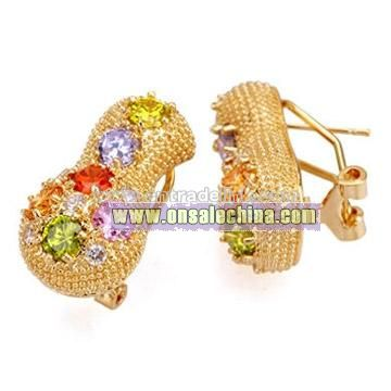 Colorful CZ Gold Plated Brass Earrings