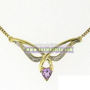 10k Gold Amethyst & Diamond Necklace