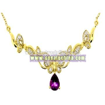 10k Gold Mystic Topaz & Diamond Necklace