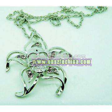 Death's-Head Charm Crystal Necklace