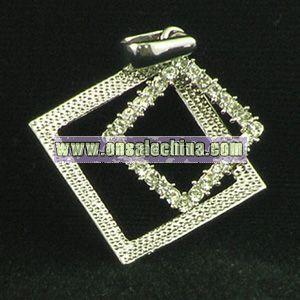 Fashion Square-Shaped Pendant with Gemstone