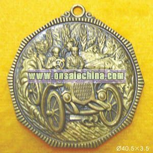Bronze Pendant with Engraved Pattern