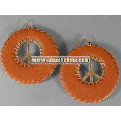 Jessica Simpson Brown Leather Peace Earrings