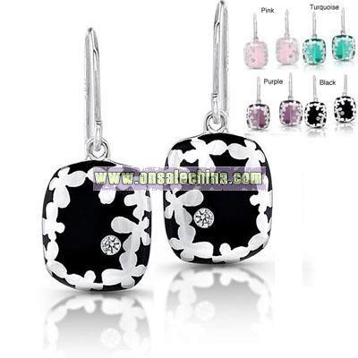 Silver Flower and Resin Earrings