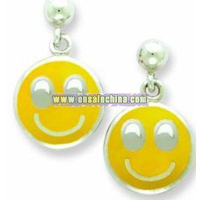 Sterling Silver Smiley Face Resin Earrings