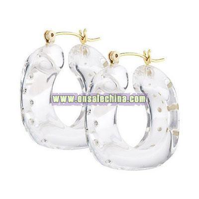 Crystal Studded Resin Hoop Earrings