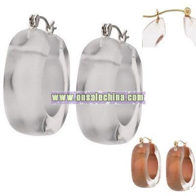 Square Silhouette Resin Hoop Earrings