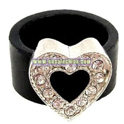 Silicone Ring with Heart Shape Crystal Charm