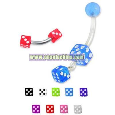 Acrylic Dices Curved Barbell