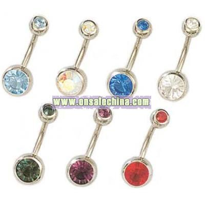 Stainless Steel Double-jeweled Barbell Belly Ring