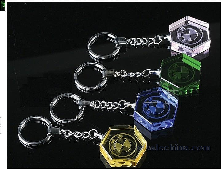 Crystal keychain with light
