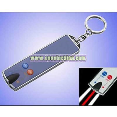 Laser card with 2 LED lights and key chain