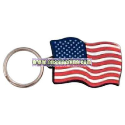 PVC American flag key tag with split and jump ring