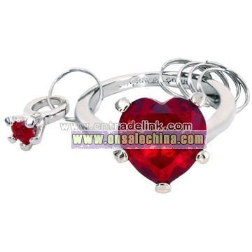 Diamond Key Chain With Crystal - Red Heart-Shaped