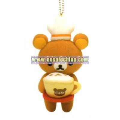 Rillakuma Cafe Relax Bear Plush Keychain