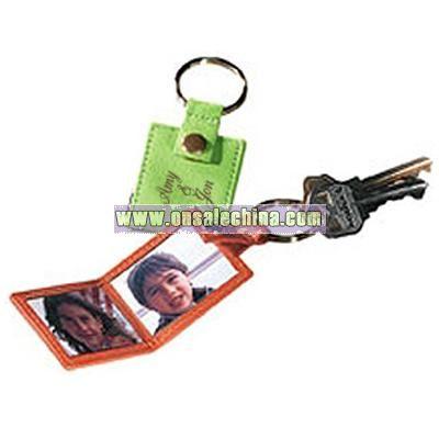 Twin Photo Leather Keychain