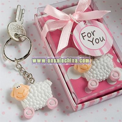 Pink Toy Sheep Keychain Favors