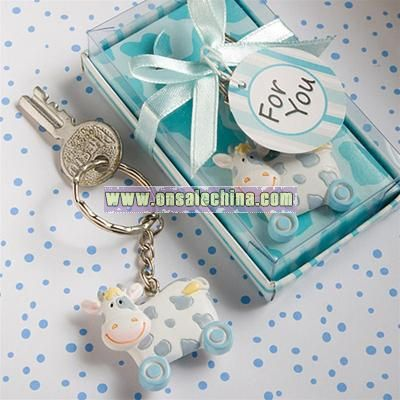 Blue Toy Cow Keychain Favors