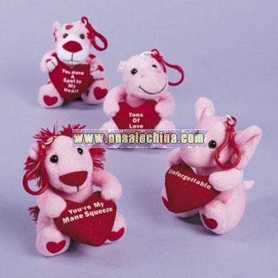 Plush Valentine Zoo Animal Key Chains