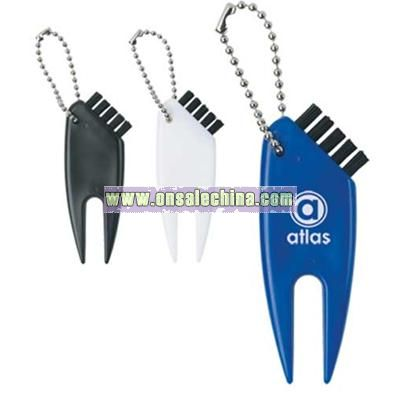 Plastic Divot Key Chain With Nylon Brush