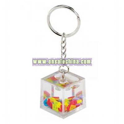 Floating Letters Acrylic Key Chain
