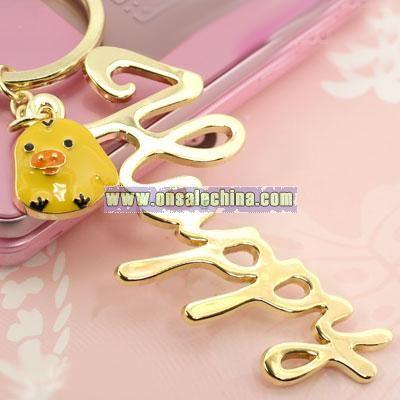 Rilakkuma Message Key Ring (Kiiroitori/Happy)